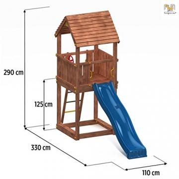 Spielturm JUNIOR Kletterturm mit 2,2 m Rutsche Sandkasten und Zubehör - 2