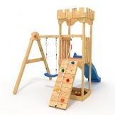 """Spielturm - Kletterturm - Ritterburg """"S"""" mit Rutsche, Schaukel, Kletterseil, Klettersteinen von BIBEX (Blau) - 1"""