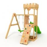 """Spielturm - Kletterturm - Ritterburg """"S"""" mit Rutsche, Schaukel, Kletterseil, Klettersteinen von BIBEX (Grün) - 1"""