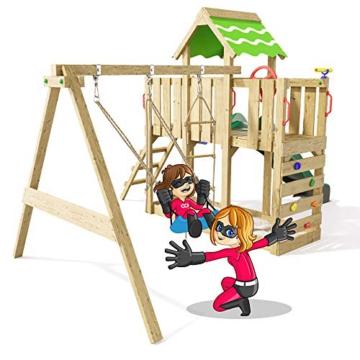Spielturm Playful Heroows Schaukelgestell mit Kletterleiter und Kletterwand, Schaukel & Rutsche - 2