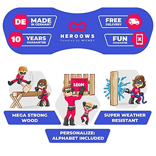Spielturm Playful Heroows Schaukelgestell mit Kletterleiter und Kletterwand, Schaukel & Rutsche - 3