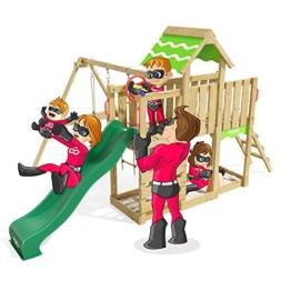 Spielturm Playful Heroows Schaukelgestell mit Kletterleiter und Kletterwand, Schaukel & Rutsche - 1
