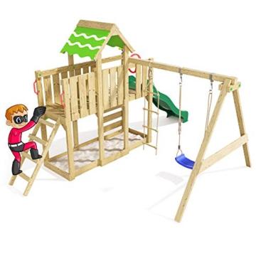 Spielturm Playful Heroows Schaukelgestell mit Kletterleiter und Kletterwand, Schaukel & Rutsche - 5