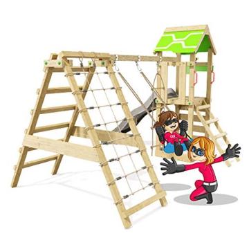 Spielturm Rapid Heroows Schaukelgestell aus Holz mit Kletteranbau und Kletterwand, Sandkasten, Schaukel & Rutsche - 2