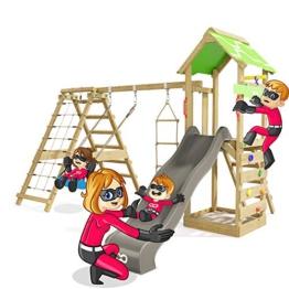 Spielturm Rapid Heroows Schaukelgestell aus Holz mit Kletteranbau und Kletterwand, Sandkasten, Schaukel & Rutsche - 1