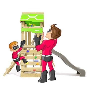 Spielturm Rapid Heroows Schaukelgestell aus Holz mit Kletteranbau und Kletterwand, Sandkasten, Schaukel & Rutsche - 4