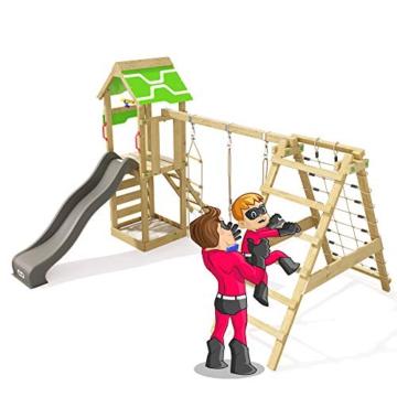 Spielturm Rapid Heroows Schaukelgestell aus Holz mit Kletteranbau und Kletterwand, Sandkasten, Schaukel & Rutsche - 5