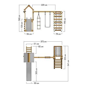 Spielturm Rapid Heroows Schaukelgestell aus Holz mit Kletteranbau und Kletterwand, Sandkasten, Schaukel & Rutsche - 7