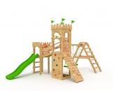 """Spielturm - Ritterburg - mit 2 Klettertürmen - """"2x Schaukel, Grüne Rutsche, Netz"""" Brücke Kletterwand Sandkasten - 1"""