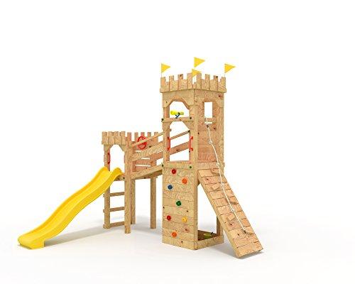 Spielturm ritterburg mit 2 klettert rmen gelbe for Gartenpool 10 meter