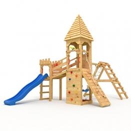 """Spielturm - Ritterburg """"XL"""" - 2,4m Rutsche, 2x Türme, 2x Schaukel + Knotennetz (geschlossenes Spitzdach, blaue Rutsche) - 1"""