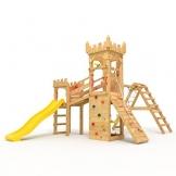 """Spielturm - Ritterburg """"XL"""" - 2,4m Rutsche, 2x Türme, 2x Schaukel + Knotennetz (offenes Dach, gelbe Rutsche) - 1"""
