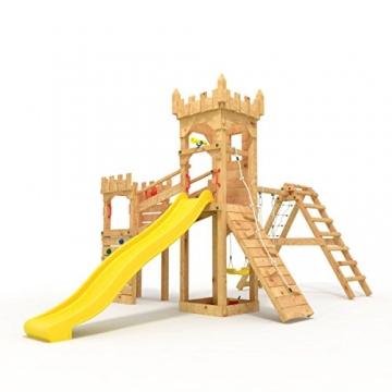 """Spielturm - Ritterburg """"XL"""" - 3m Rutsche, 2x Türme, 1.50 und 1.20m Podesthöhen, Brücke, Rutsche, Kletterwand und Sandkasten, verschiedene Farben offen (Zacken) gelbe Rutsche/Schaukel - 1"""