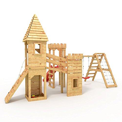 Spielturm ritterburg xxl 3x t rme 2x schaukel netz for Gartenpool 10 meter