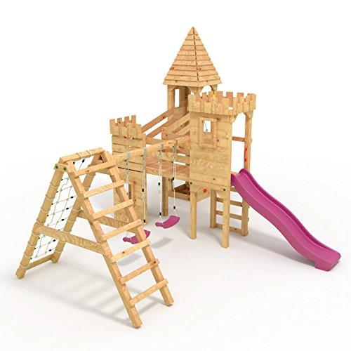 """Spielturm - Ritterburg """"XXL"""" - Kletterturm, Rutsche, Schaukel, Kletterwand, Sandkasten 2x Schaukel+Netz Lila Rutsche - 4"""