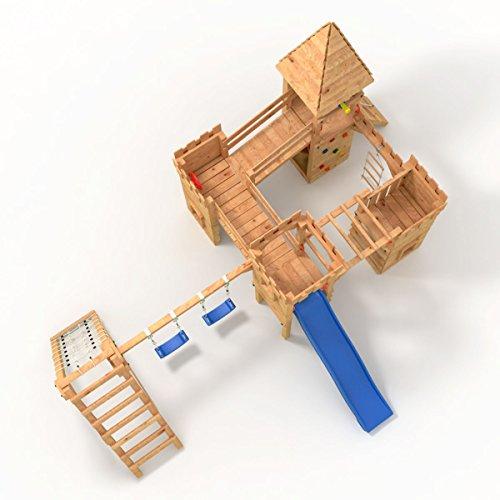 """Spielturm - Ritterburg """"XXXL"""" - 4x Türme, 2x Schaukel + Knotennetz, Reck, Klettersteine, Kletterwand, Rutsche (Lila) - 3"""