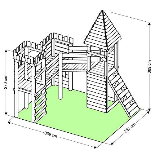 """Spielturm - Ritterburg """"XXXL"""" - 4x Türme, 2x Schaukel + Knotennetz, Reck, Klettersteine, Kletterwand, Rutsche (Lila) - 5"""