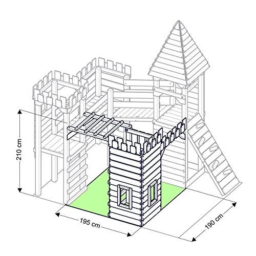 """Spielturm - Ritterburg """"XXXL"""" - 4x Türme, 2x Schaukel + Knotennetz, Reck, Klettersteine, Kletterwand, Rutsche (Lila) - 6"""