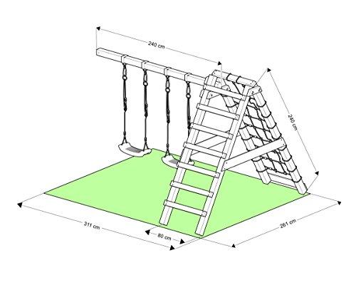 """Spielturm - Ritterburg """"XXXL"""" - 4x Türme, 2x Schaukel + Knotennetz, Reck, Klettersteine, Kletterwand, Rutsche (Lila) - 7"""