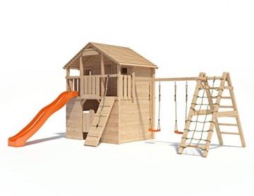 Spielturm Silverado von ISIDOR mit erweitertem Schaukelanbau - Western- Baumhaus mit Doppelschaukel, Rutsche, Kletternetz, Saloontür und Basketballkorb auf 1,50 Meter Podesthöhe -