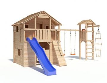 Spielturm Silverado von ISIDOR mit Turm- Schaukelanbau - Western- Baumhaus mit 3-Seiten-Strickleiter, Doppelschaukel, Rutschstange, XXL-Rutsche, Saloontür und Basketballkorb auf 1,50 Meter Podesthöhe -