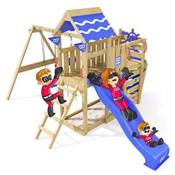 Spielturm Sparkling Heroows Stelzenhaus mit Kletterwand und Kletterleiter, großem Sandkasten, Schaukel & Rutsche - 2