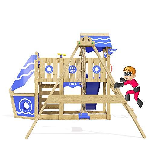 Spielturm Sparkling Heroows Stelzenhaus mit Kletterwand und Kletterleiter, großem Sandkasten, Schaukel & Rutsche - 4