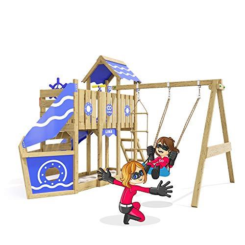 Spielturm Sparkling Heroows Stelzenhaus mit Kletterwand und Kletterleiter, großem Sandkasten, Schaukel & Rutsche - 5