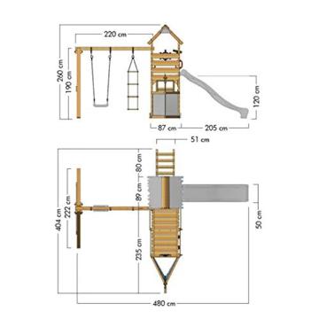 Spielturm Sparkling Heroows Stelzenhaus mit Kletterwand und Kletterleiter, großem Sandkasten, Schaukel & Rutsche - 7