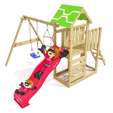 Spielturm Terrific Heroows Schaukelgestell mit Kletterleiter, Kletterwand, Schaukel & Rutsche - 2