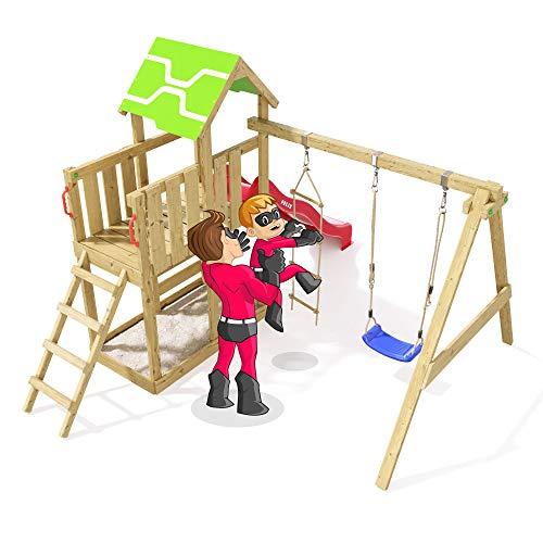 Spielturm Terrific Heroows Schaukelgestell mit Kletterleiter, Kletterwand, Schaukel & Rutsche - 5