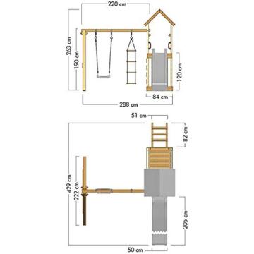 Spielturm Terrific Heroows Schaukelgestell mit Kletterleiter, Kletterwand, Schaukel & Rutsche - 7
