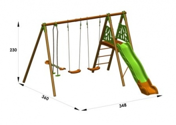 Trigano Kinder Schaukel Gartenschaukel aus Holz und Metall (Akeo) - 4
