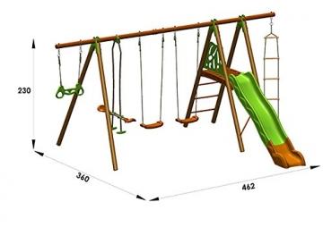 Trigano Schaukel Octavo aus Holz und Metall mit Klettergerüst, Rutsche, Strickleiter, Trapezringe, Tellerwippe und 2 Schaukelsitze - 4