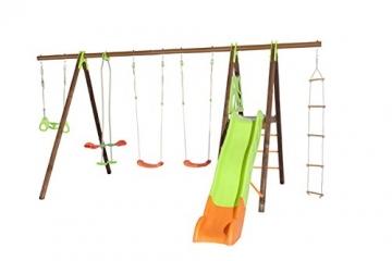 Trigano Schaukel Octavo aus Holz und Metall mit Klettergerüst, Rutsche, Strickleiter, Trapezringe, Tellerwippe und 2 Schaukelsitze - 1