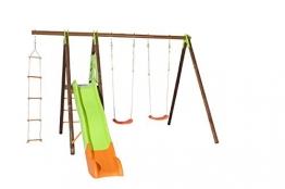 Trigano Schaukel Xalto aus Holz und Metall mit Plattform, Rutsche, Strickleiter und 2 Schaukelsitze - 1