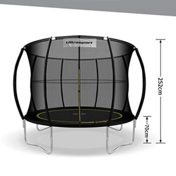 Ultrasport Garten Trampolin mit 305 cm Durchmesser, mit Elastik-Seilsystem statt Sprungfedern, kein Quietschen, belastbar bis 150 kg, Trampolin Komplettset, Farbe: schwarz - 2