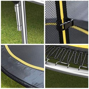 Ultrasport Garten Trampolin mit 305 cm Durchmesser, mit Elastik-Seilsystem statt Sprungfedern, kein Quietschen, belastbar bis 150 kg, Trampolin Komplettset, Farbe: schwarz - 4