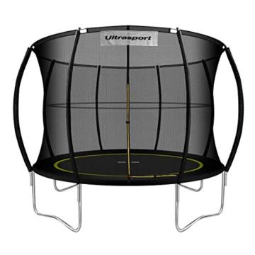 Ultrasport Garten Trampolin mit 305 cm Durchmesser, mit Elastik-Seilsystem statt Sprungfedern, kein Quietschen, belastbar bis 150 kg, Trampolin Komplettset, Farbe: schwarz - 1