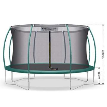 Ultrasport Garten Trampolin XL, 366cm Durchmesser, belastbar bis 150 kg, großes Outdoor Trampolin mit viel Platz und vielen Sicherheitsmerkmalen, Trampolin Komplettset, grün - 3