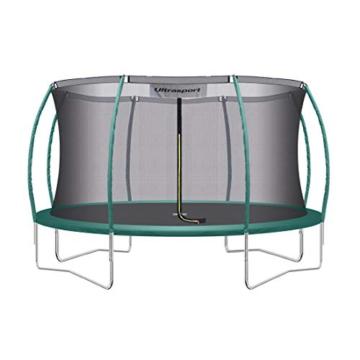 Ultrasport Garten Trampolin XL, 366cm Durchmesser, belastbar bis 150 kg, großes Outdoor Trampolin mit viel Platz und vielen Sicherheitsmerkmalen, Trampolin Komplettset, grün - 1