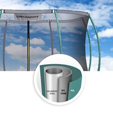 Ultrasport Garten Trampolin XL, 366cm Durchmesser, belastbar bis 150 kg, großes Outdoor Trampolin mit viel Platz und vielen Sicherheitsmerkmalen, Trampolin Komplettset, grün - 7