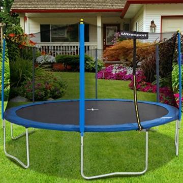 Ultrasport Gartentrampolin Uni-Jump, Kindertrampolin, Trampolin Komplettset inklusive Sprungmatte, Sicherheitsnetz, gepolsterten Netzpfosten und Randabdeckung, 244 cm -