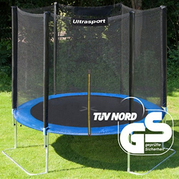Ultrasport Outdoor Gartentrampolin Jumper, Trampolin Komplettset inklusive Sprungmatte, Sicherheitsnetz, gepolsterten Netzpfosten und Randabdeckung, bis zu 120 kg, blau, Ø 180 cm - 2