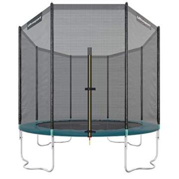 Ultrasport Outdoor Gartentrampolin Jumper, Trampolin Komplettset inklusive Sprungmatte, Sicherheitsnetz, gepolsterten Netzpfosten und Randabdeckung, bis zu 150 kg, grün, Ø 305 cm - 1