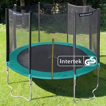 Ultrasport Outdoor Gartentrampolin Jumper, Trampolin Komplettset inklusive Sprungmatte, Sicherheitsnetz, gepolsterten Netzpfosten und Randabdeckung, bis zu 150 kg, grün, Ø 305 cm - 5