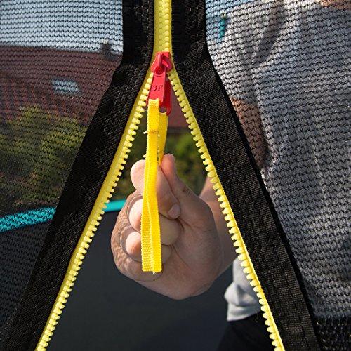 Ultrasport Outdoor Gartentrampolin Jumper, Trampolin Komplettset inklusive Sprungmatte, Sicherheitsnetz, gepolsterten Netzpfosten und Randabdeckung, bis zu 120 kg, grün, Ø 251 cm - 7