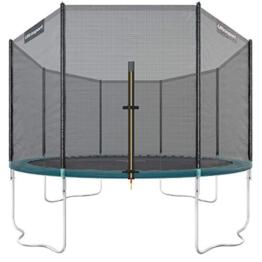Ultrasport Outdoor Gartentrampolin Jumper, Trampolin Komplettset inklusive Sprungmatte, Sicherheitsnetz, gepolsterten Netzpfosten und Randabdeckung, bis zu 150 kg, grün, Ø 366 cm - 1