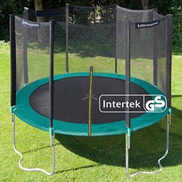 Ultrasport Outdoor Gartentrampolin Jumper, Trampolin Komplettset inklusive Sprungmatte, Sicherheitsnetz, gepolsterten Netzpfosten und Randabdeckung, bis zu 150 kg, grün, Ø 366 cm - 4