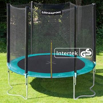 Ultrasport Outdoor Gartentrampolin Jumper, Trampolin Komplettset inklusive Sprungmatte, Sicherheitsnetz, gepolsterten Netzpfosten und Randabdeckung, Grün, 180 cm - 2